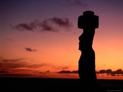 Ancient Moai at Ahu Ko Te Riku at Sunset, Easter Island, Valparaiso, Chile