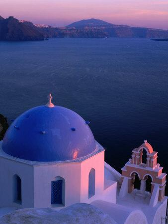 Blue-Domed Church at Sunset, Oia, Santorini Island, Southern Aegean, Greece