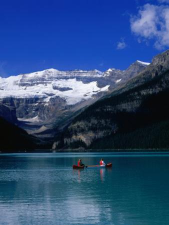 Canoeing Lake Louise in the Canadian Rockies, Lake Louise, Alberta, Canada