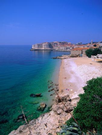 Coastal Views Towards the Walled City Beyond, Dubrovnik, Dubrovnik-Neretva, Croatia
