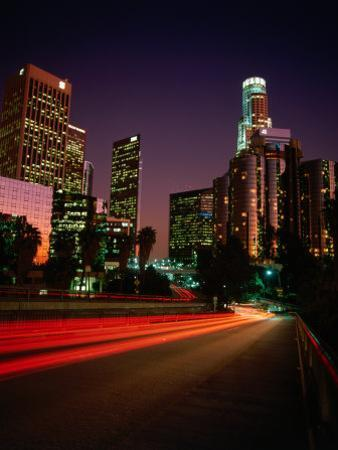 Dusk Lights Over the City, Los Angeles, California, USA