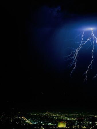 Lightning Storms Over the San Fernando Valley, Los Angeles, California, USA