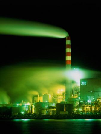 Pollution from Pulp Mill Enhanced at Night, Eureka, California, USA