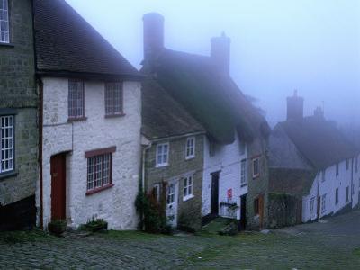 "Street of ""Gold Hill"" Shrouded in Fog, Shaftesbury, Dorset, England"