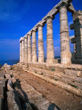 Superb Ruins of the 4th Century BC Temple of Poseidon on the Apollo Coast, Athens, Attica, Greece