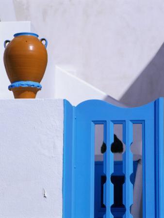 Terracotta Urn, Blue Gate and Whitewashed Walls, Santorini Island, Southern Aegean, Greece