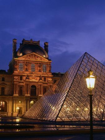 The Louvre Museum and Pyramid, Paris, Ile-De-France, France