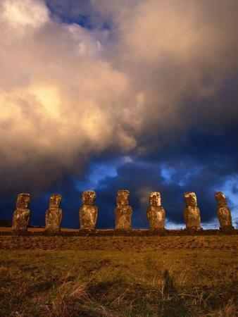 The Seven Moais of Ahu Akivi, Easter Island, Valparaiso, Chile