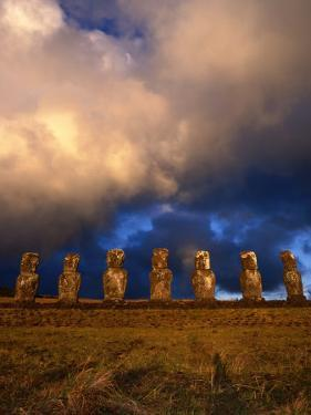 The Seven Moais of Ahu Akivi, Easter Island, Valparaiso, Chile by Jan Stromme