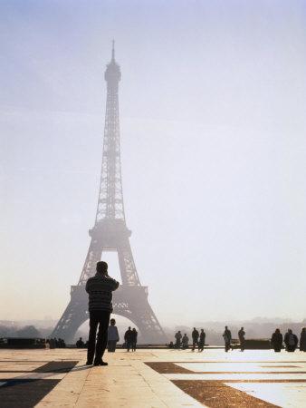 Tourist Taking Photograph of the Eiffel Tower, Paris, Ile-De-France, France