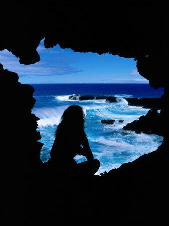 Views of the Pacific Ocean from a Cave, Easter Island, Valparaiso, Chile