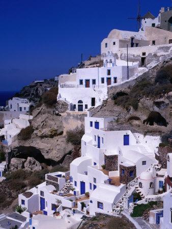 White Cliff-Side Houses, Oia, Santorini Island, Southern Aegean, Greece