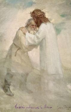 Leo Tolstoy the Russian Novelist Embracing Jesus by Jan Styka