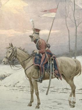 A Lancer of Napoleon's Polish Guards on Winter Patrol by Jan Van Chelminski