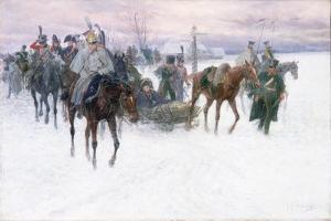 Napoleon's Troops Retreating from Moscow, 1888-89 by Jan Van Chelminski