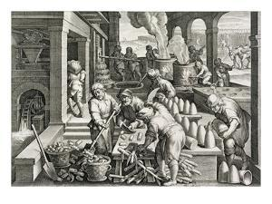 A Sugar Mill and the Production of Sugar Loaves, Plate 14 from 'Nova Reperta' (New Discoveries) by Jan van der Straet
