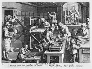 The Invention of Copper Engraving, Plate 20 from 'Nova Reperta' by Jan van der Straet
