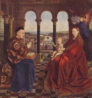 Madonna of Chancellor Rolin, c1435, (1938) by Jan Van Eyck