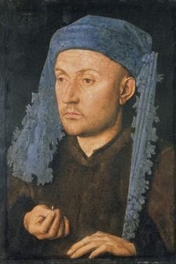 Portrait of a Man with Blue Headdress, C. 1430 by Jan van Eyck