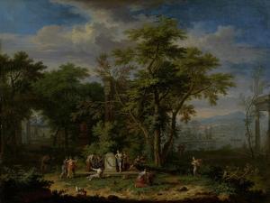 Arcadian Landscape with a Ceremonial Sacrifice by Jan van Huysum