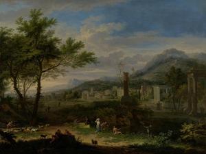 Arcadian Landscape with Fishermen by Jan van Huysum