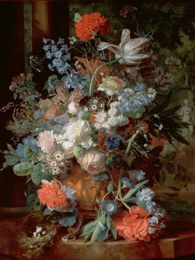 Bouquet of Flowers in a Landscape by Jan van Huysum