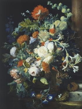 Bouquets of Flowers on a Black Background by Jan van Huysum
