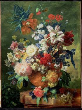 Still Life of Flowers and a Bird's Nest on a Pedestal by Jan van Huysum