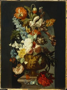 Tulips, Roses, Hyacinth, Auricula and Flowers in a Sculpted Urn on a Stone Pedestal in a Niche by Jan van Huysum