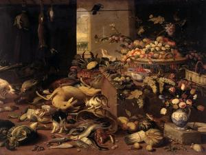Still Life (Interior with Game, Fish, Fruit, Flowers, Cats and Dogs), 1645-79 by Jan van Kessel