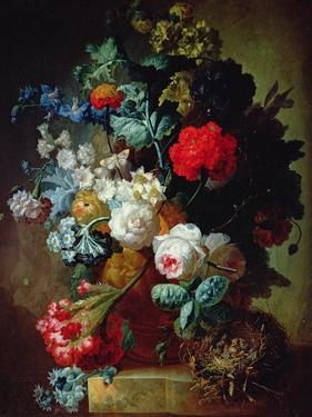 Still Life, Flowers and Bird's Nest by Jan van Os