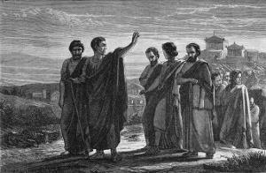 Aristotle Leaving Athens with His Followers Having Been Wrongly Accused of Impiety by Jan Verhas