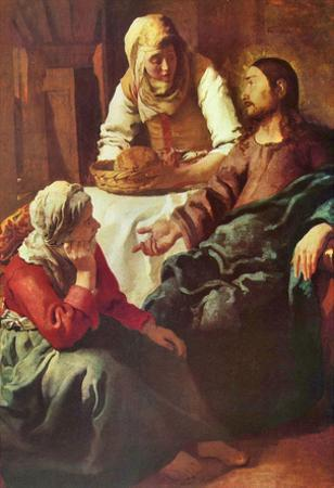 Jan Vermeer van Delft (Christ with Mary and Martha) Art Poster Print