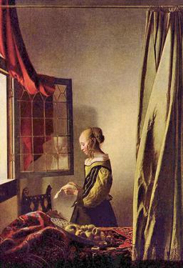 Jan Vermeer van Delft (Letter girls at the open window) Art Poster Print