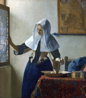 Young Woman with a Water Pitcher by Jan Vermeer by Jan Vermeer