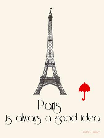 Paris Travel Poster With Eiffel Tower by Jan Weiss