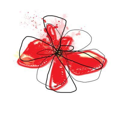 Red Liquid Floral Three by Jan Weiss