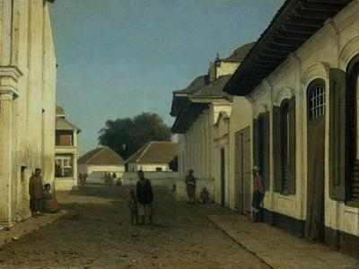 A Street in the Old Part of Batavia, Street and Leaning Against the Walls, Some Natives