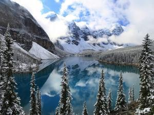 First Snow at Moraine Lake, Banff Np, Canada by Jan Zwilling