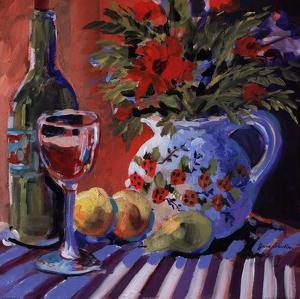 Red Wine And Table by Jane Slivka