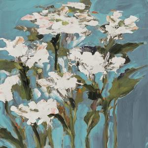 Wild Flowers on Blue I by Jane Slivka
