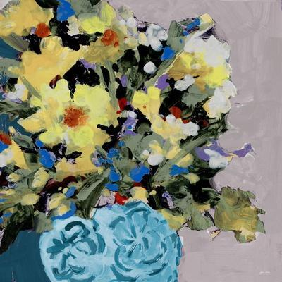 Yellow Daisies In Blue Vase
