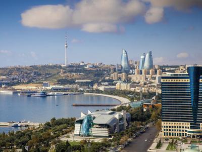 Azerbaijan, Baku, View of City Looking Towards Hilton Hotel by Jane Sweeney