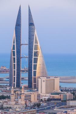 Bahrain, Manama, View of Bahrain World Trade Center by Jane Sweeney