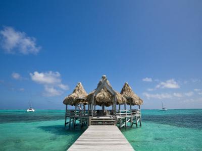 Belize, Ambergris Caye, San Pedro, Ramons Village Resort Pier and Palapa by Jane Sweeney