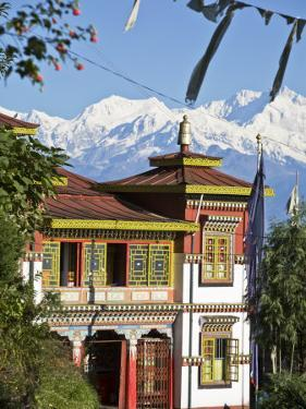 Bhutia Busty Gompa and Kanchenjunga, Darjeeling, West Bengal, India by Jane Sweeney