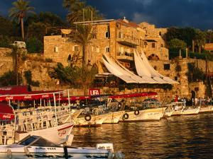 Boats on Waterfront, Byblos, Jabal Lubnan, Lebanon by Jane Sweeney