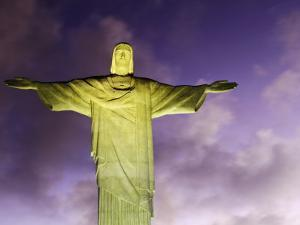 Brazil, Rio De Janeiro, Cosme Velho, Christ the Redeemer Statue at Atop Cocovado at Night by Jane Sweeney