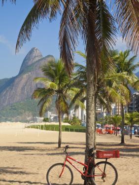 Brazil, Rio De Janeiro, Leblon Beach, Bike Leaning on Palm Tree by Jane Sweeney