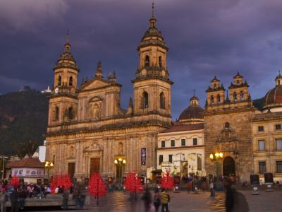 Colombia, Bogota, Plaza De Bolivar, Neoclassical Cathedral Primada De Colombia at Christmas